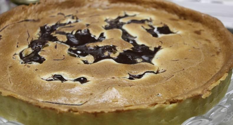 Torta de pêras com ganache de chocolate