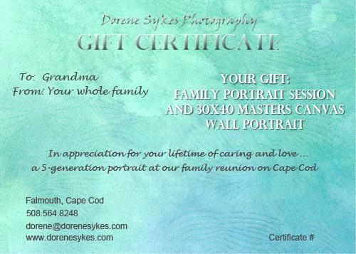 Dorene Sykes Photography Portrait Gift Certificate sample Dorene - gift certificate samples