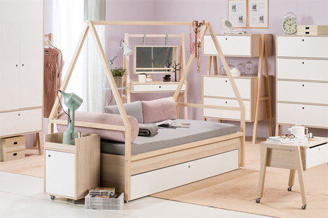 Simple All In One Wooden Furniture Series Grows With Kids