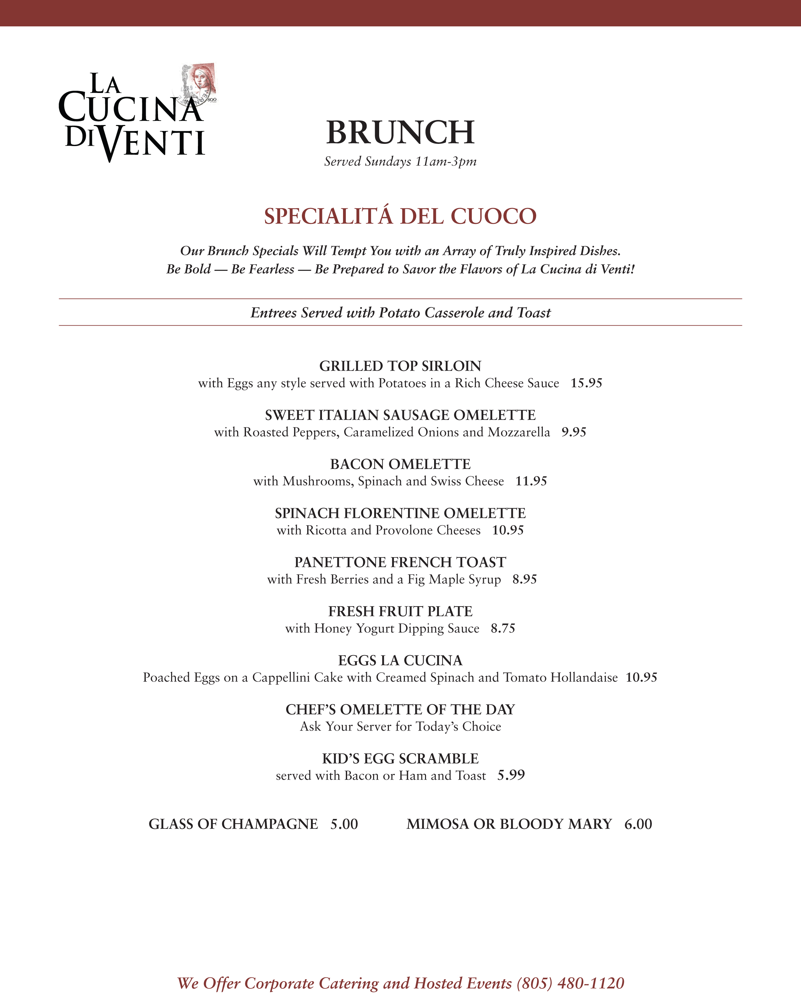 Cucina Venti Restaurant Menu Cucina Di Venti Brunch Menu Welcome To Your Dos Vientos
