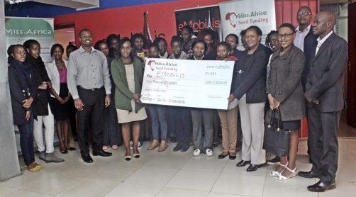 2015 Inaugural Grand Prize Seed Fund Winner eMobilis Kenya receiving the $5000 Grant
