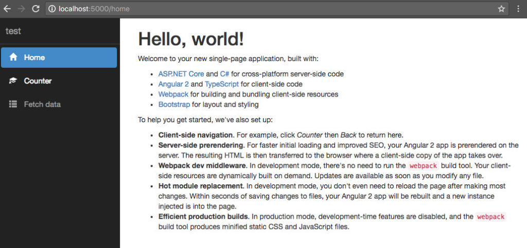 dotnet new Angular Single Page Application \u2013 Creating a UI for My