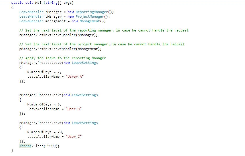 Chain of responsibility design pattern using C# Tech J - application for leave