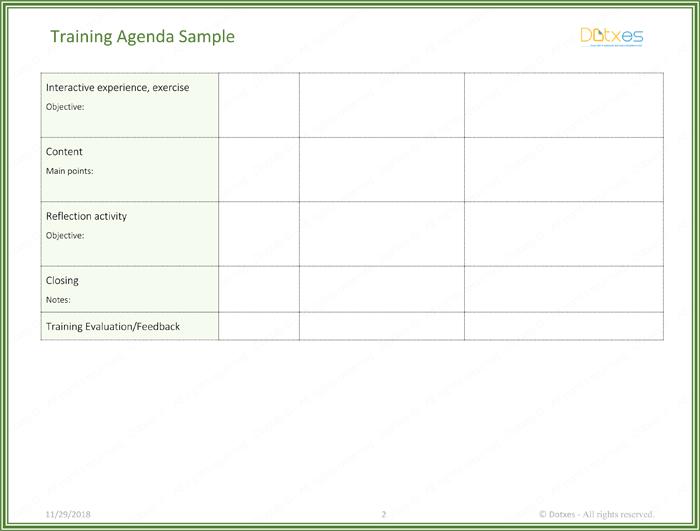 training agenda template in word