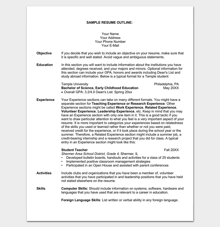 blank resume template for students