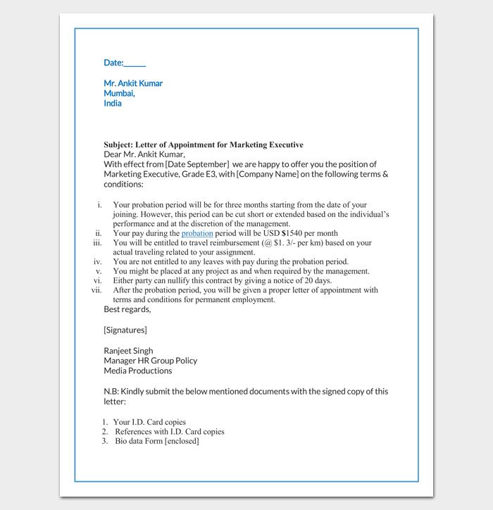 marketing offer letter format