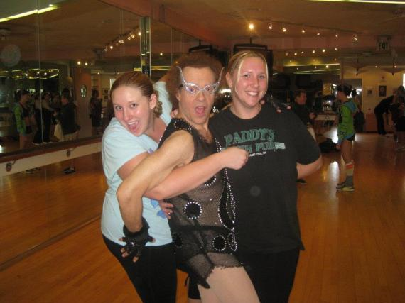 The Double Chin Sisters working out with Richard!