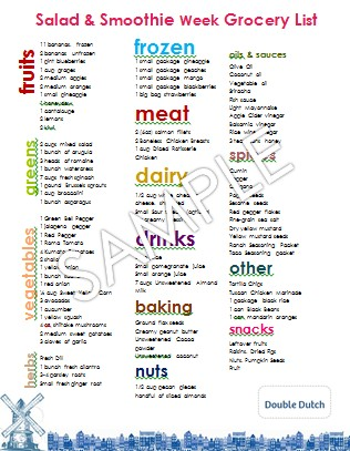 1 Week Meal Plan 7 Salads, 7 Smoothies, ONE Master List \u2013 Recipes - master grocery list