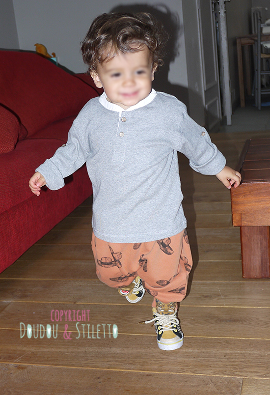 T-shirt Zara, chaussures Feiyue x Milk on the rock, sarouel Bobo Choses