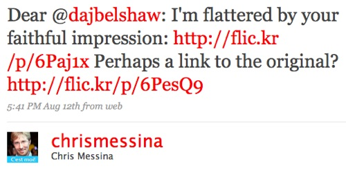 Chris Messina - tweet about Doug Belshaw's profile