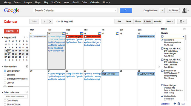 Google Calendar screenshot showing events and to-do items