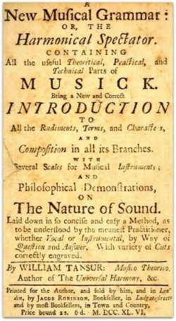 A New Musical Grammar or The Harmonical Spectator A New Musical Grammar; or, The Harmonical Spectator (1746)