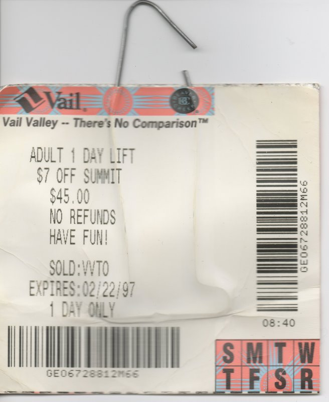 Lift Ticket Vail Vail – Doug Cornelius .com
