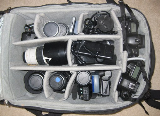 A peek inside my primary camera bag...