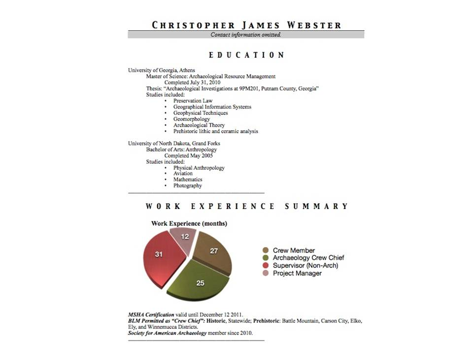 Reinveting the Archaeology CV/Resume II Doug\u0027s Archaeology
