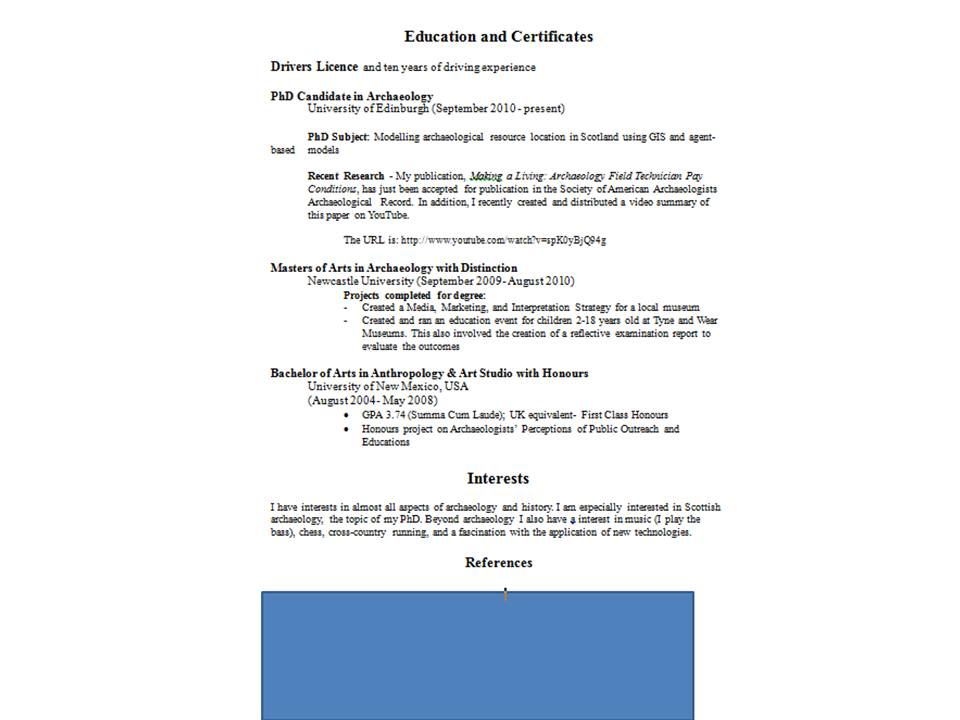 archaeology resume examples