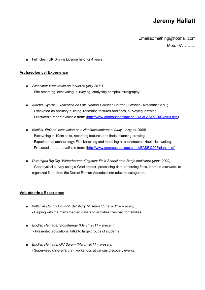 clean driving licence cv
