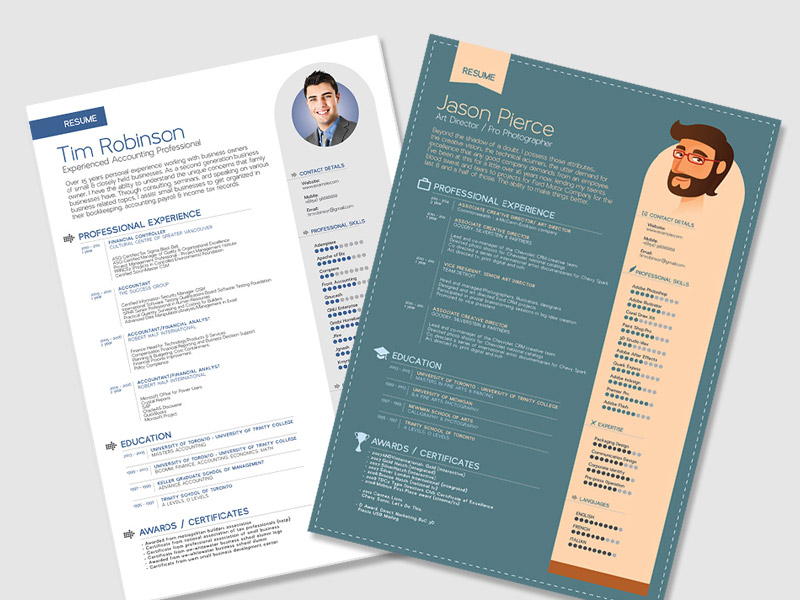25 Beautiful Free Resume Templates 2019 - DoveThemes