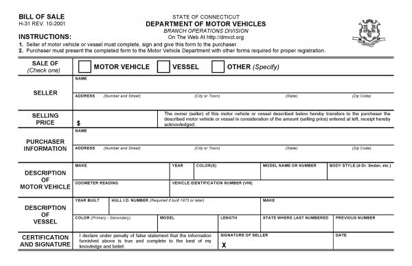 Free Connecticut DMV Bill of Sale Form PDF DOCX - department of motor vehicles bill of sale form