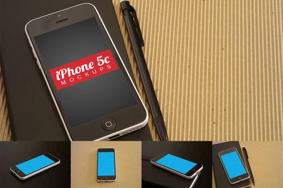 4 IPhone 5c Mockups Free PSD