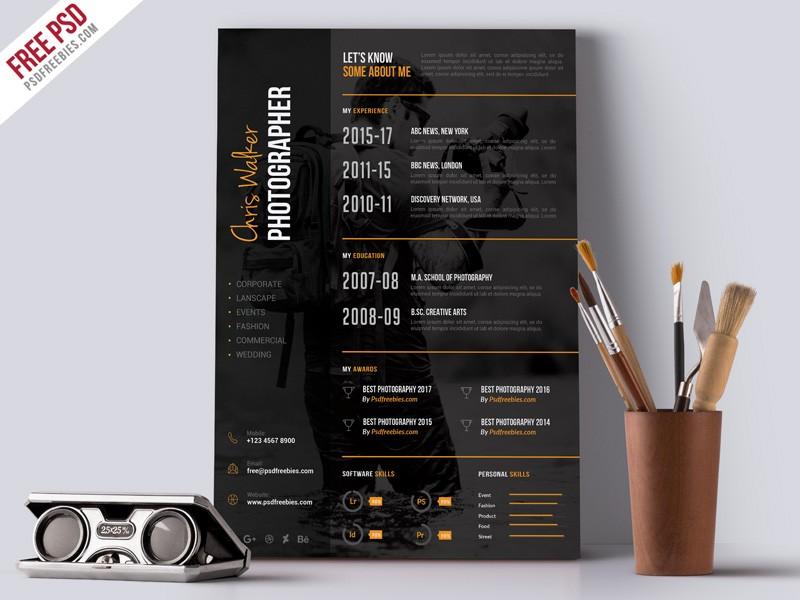 Photographer Resume CV Template PSD Download - Download PSD - photography resume template