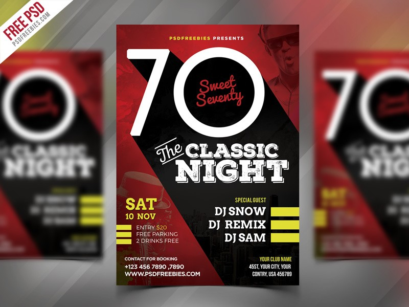 Retro Night Party Flyer Template PSD Download - Download PSD - retro flyer template