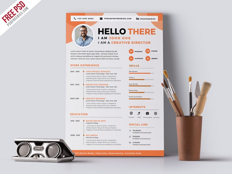 Graphic Designer CV Resume Template PSD Download - Download PSD - web design resume