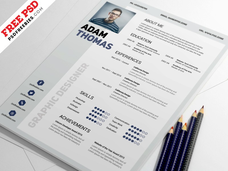 Clean Resume Template PSD Download - Download PSD - clean resume template