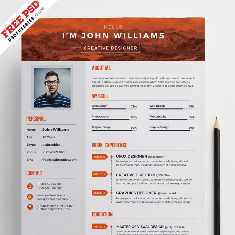 Free Creative Resume Template PSD - Download PSD