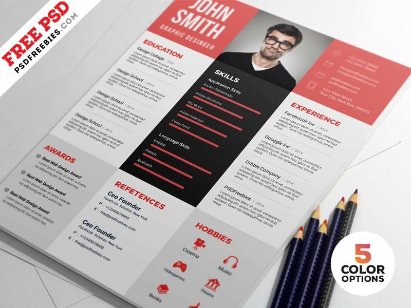Graphic Designer Resume PSD Template - Download PSD - designer resume