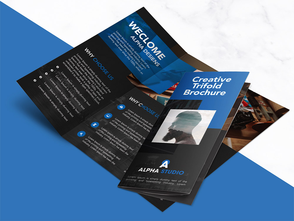 Creative Agency Trifold Brochure Free PSD Template Download - Tri Fold Brochures Free