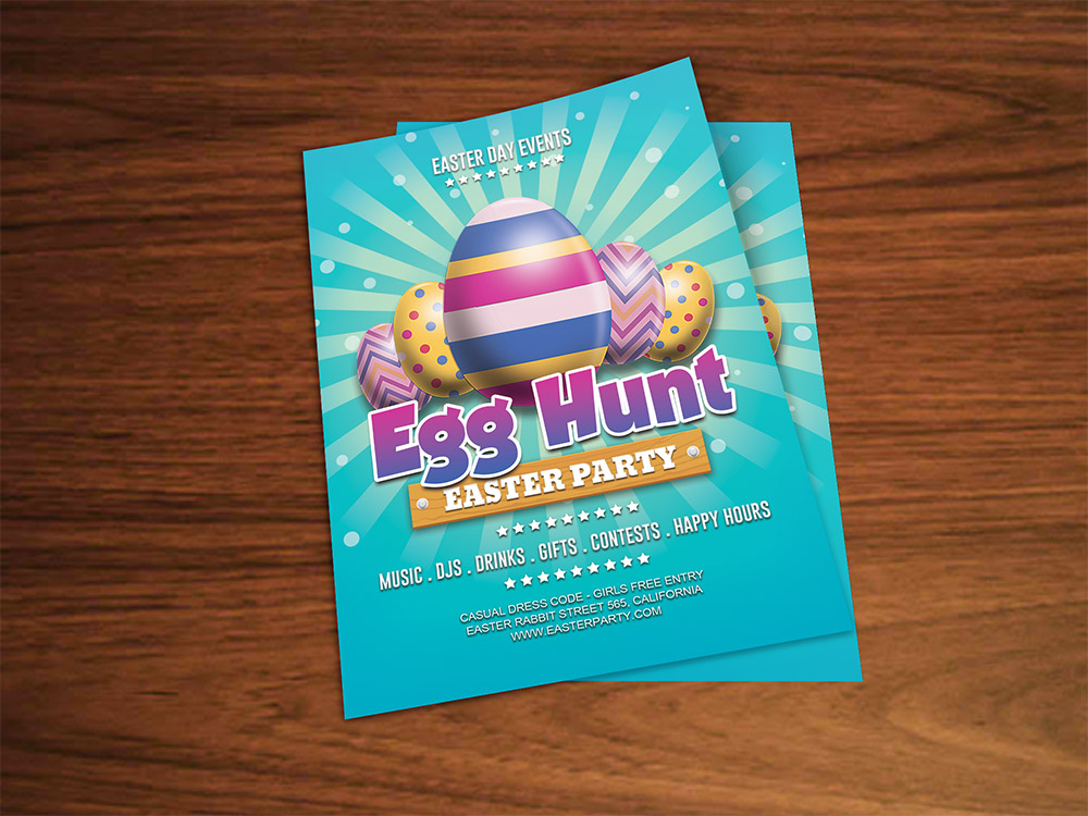 Easter Party Flyer Template Free PSD Download - Download PSD - easter flyer template