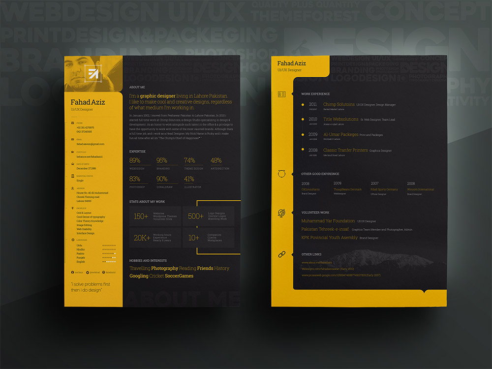Personal Resume Template Free PSD Download - Download PSD - Free Graphic Design Resume Templates
