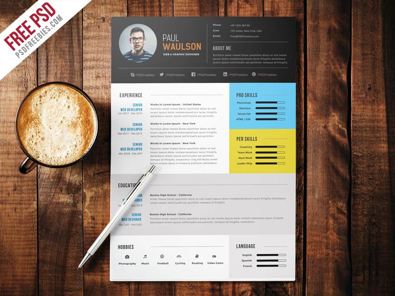 Elegant Modern CV Resume Free PSD Download - Download PSD