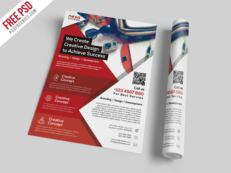 Business and Corporate Flyer Template Free PSD Download - Download PSD - design a flyer free