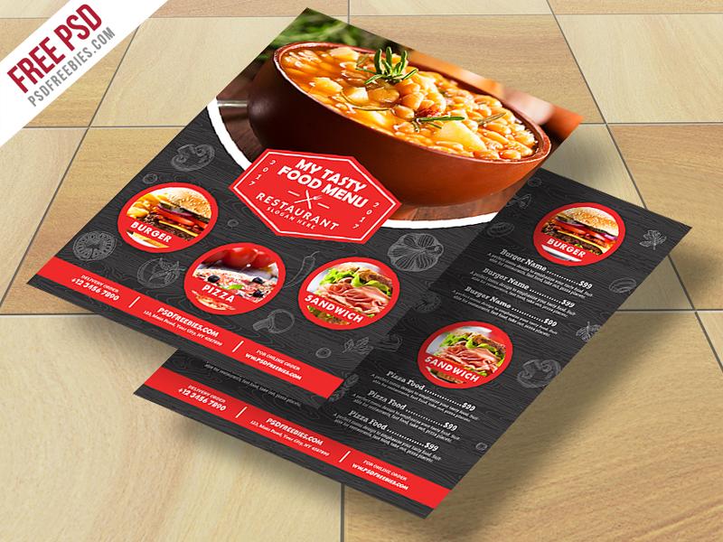 Restaurant Food Menu Flyer Free PSD Download - Download PSD - free food menu template