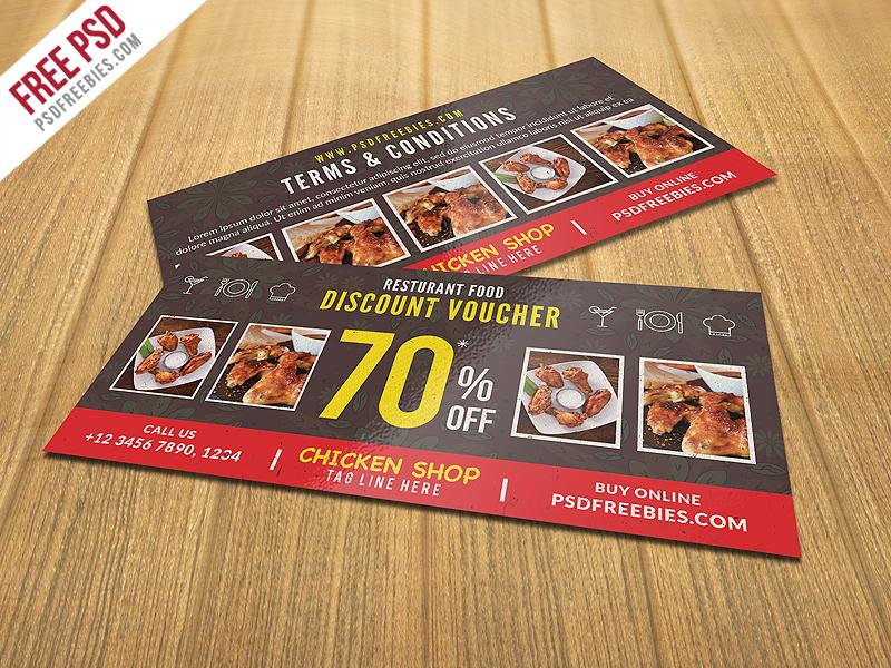 Restaurant Food Discount Voucher Free PSD Download - Download PSD - food voucher template