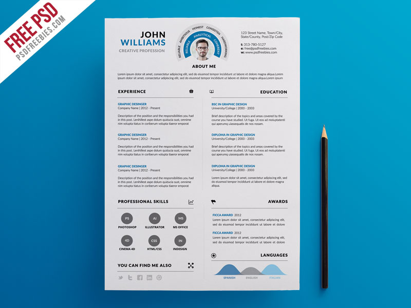 Clean and Infographic Resume PSD Template Download - Download PSD