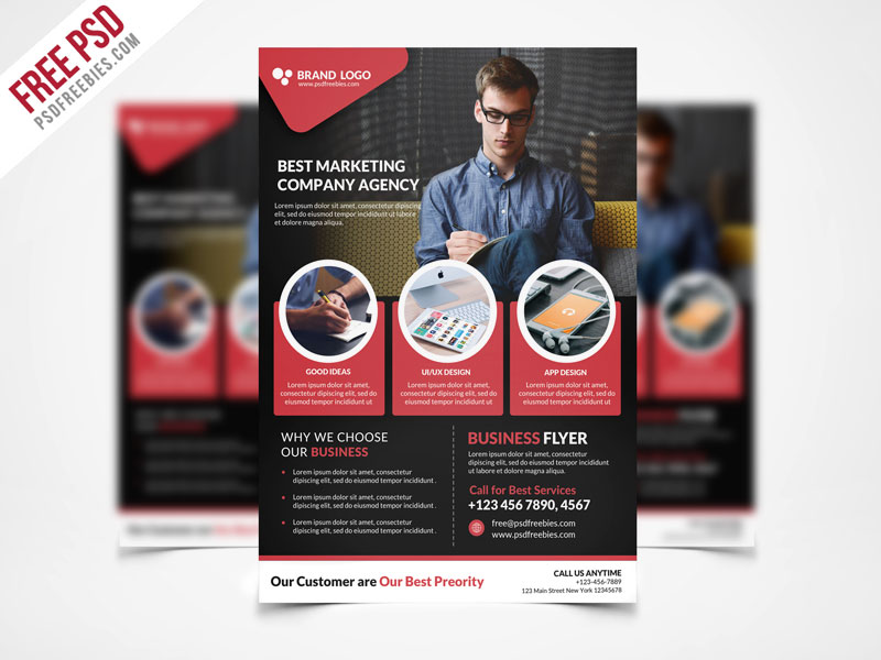 Corporate Business Flyer Template PSD Freebie Download - Download PSD - web flyer template