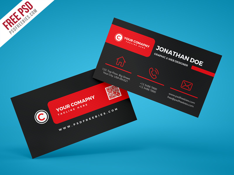 Black Corporate Business Card PSD Template Download - Download PSD - web designer business card