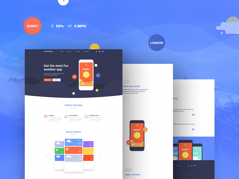 Weather Application Landing Page Template Free PSD Download - Free App Template