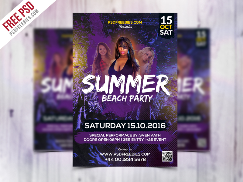 Summer Beach Party Flyer Template Free PSD Download - Download PSD