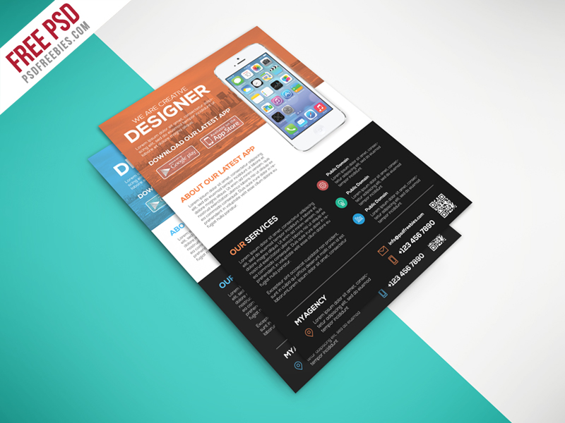 Multipurpose Mobile App Flyer Free PSD Template Download - Download PSD - free product flyer templates