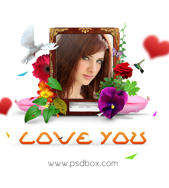Love you Wallpaper PSD Template Download - Download PSD - love templates