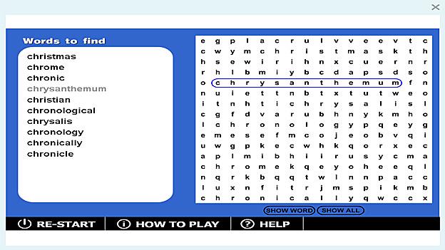 Wordsearch \u0027chr-\u0027 game