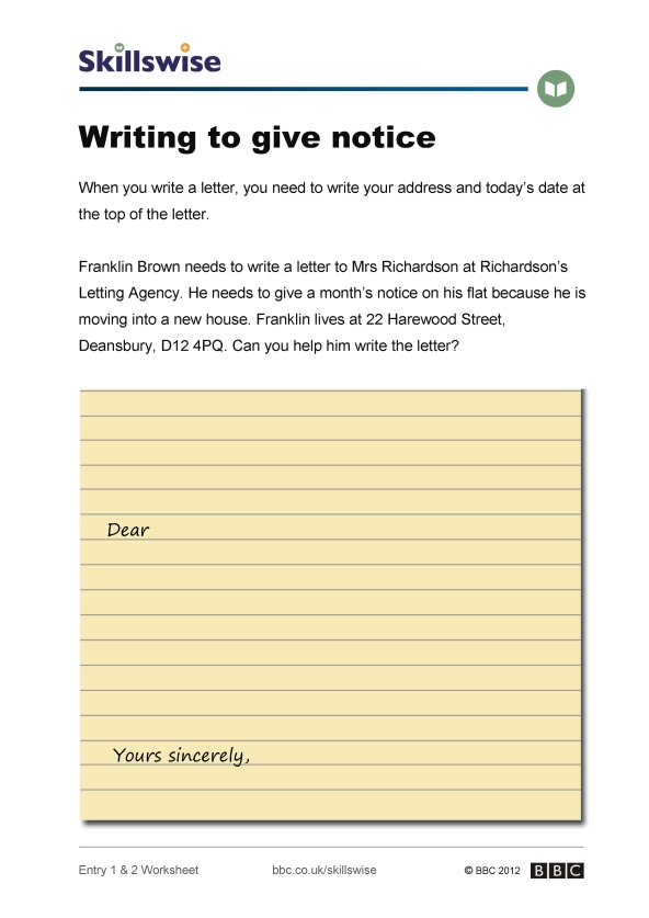 Writing to give notice - notice letter