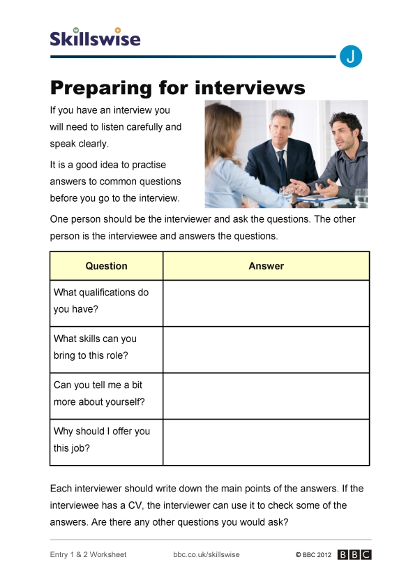 Preparing for interviews