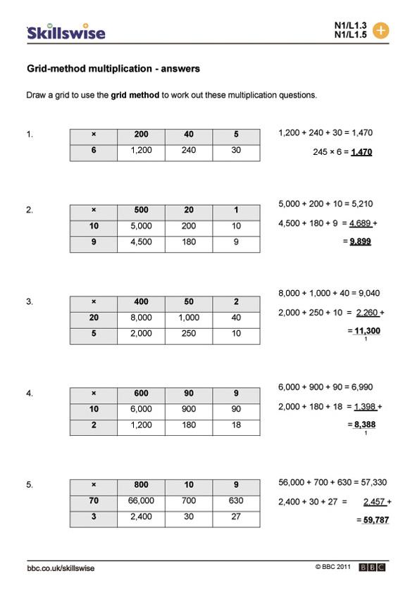 Grid-method multiplication