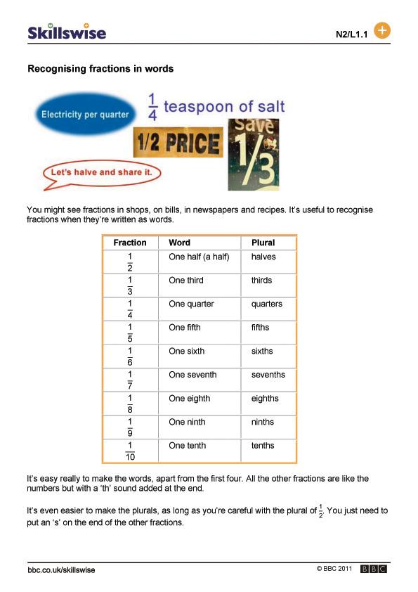 Recognising fractions in words