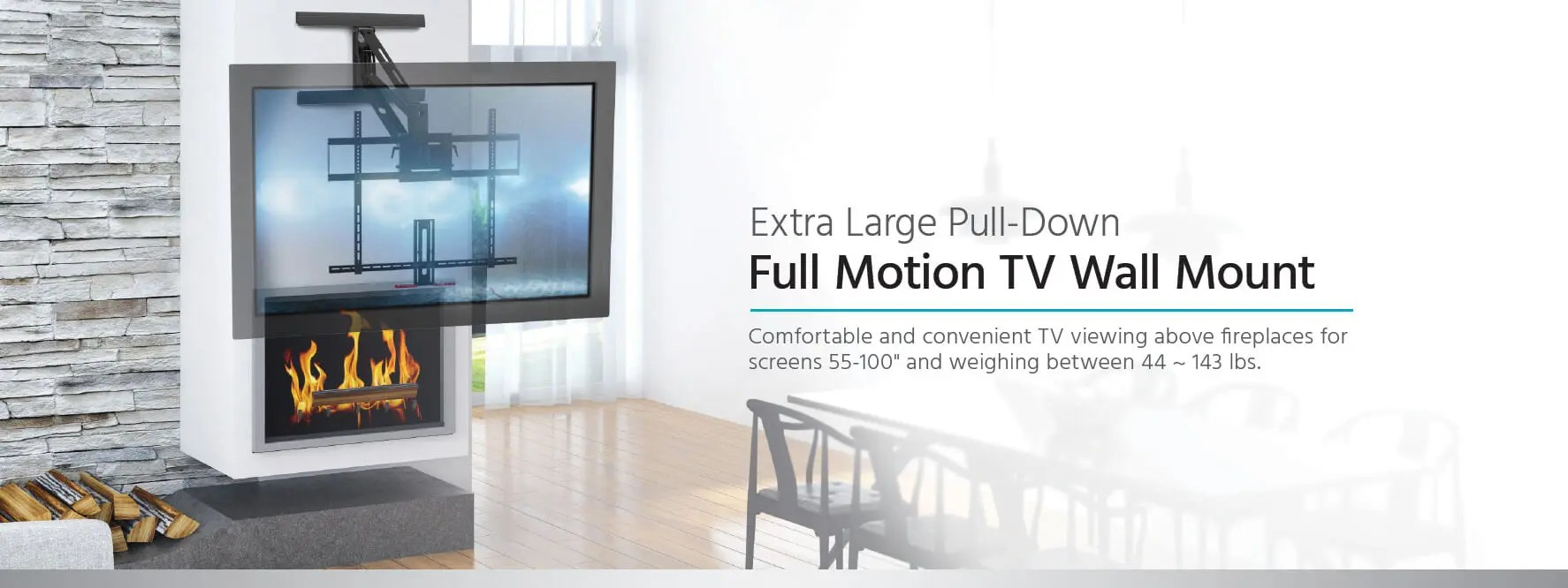 Fireplace Tv Mount Monoprice Above Fireplace Pull Down Full Motion Articulating Tv